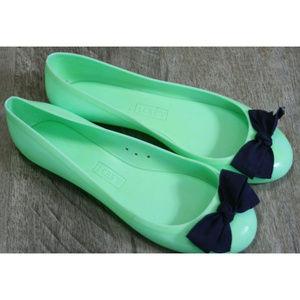 J.Crew Green Jelly Rubber Ballet Flats Slip On Bow